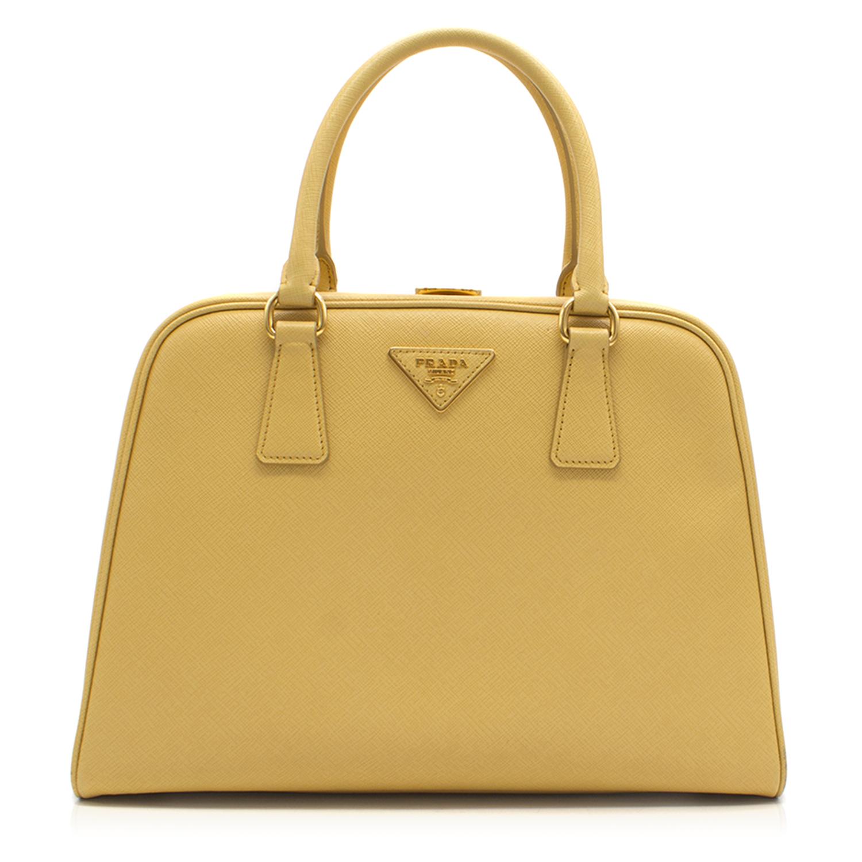 Prada Pyramid Canary Yellow Top Handle Bag  6dc739b6b0695