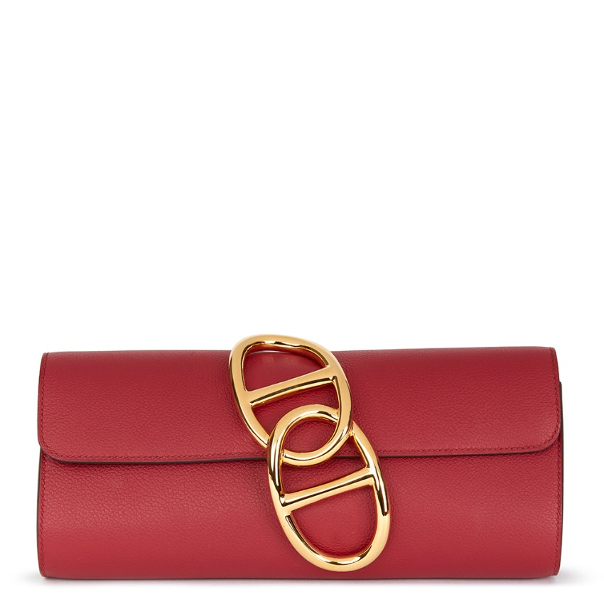 e73bfff427ec Hermes Rouge Grenat Evergrain Leather Egee Clutch132961