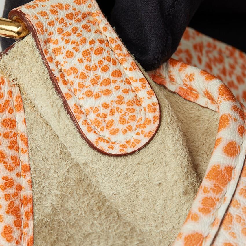 fac57144e03 Hermes Orange Dalmatian Buffalo Leather Evelyne. 22. 12345678910