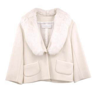 Cacharel Cream Wool Jacket with Rabbit Fur Collar
