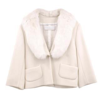Cacharel Cream Wool Jacket with Rabbit Fur Collar