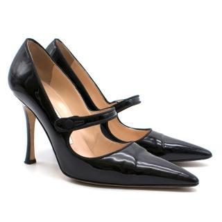 Manolo Blahnik Black Patent Leather Strap Heels