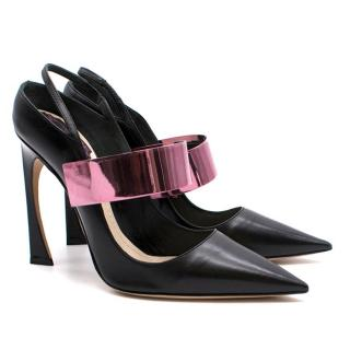 Christian Dior Black and Pink Leather Pointed Heels