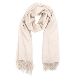 William Sharp Cream Crystal Embellished Cashmere Woven Wrap