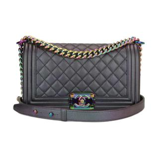 CHANEL   Iridescent Purple Old Medium Boy Bag