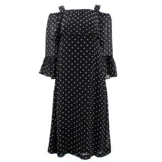 Ganni Polka Dot Off- the Shoulder Dress