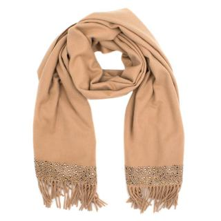 William Sharp Luxury Beige Crystal Embellished Cashmere Wrap