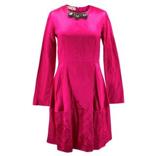Marni Pink Silk Dress with Jewelled Collar