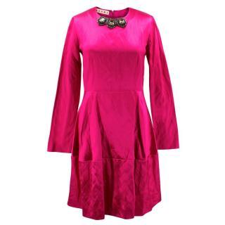 Marni Pink Silk Dress with Jewelled Collar
