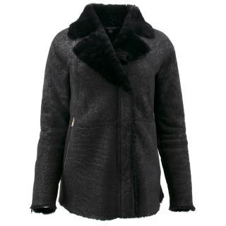 J Brand Black Lamb Skin Jacket