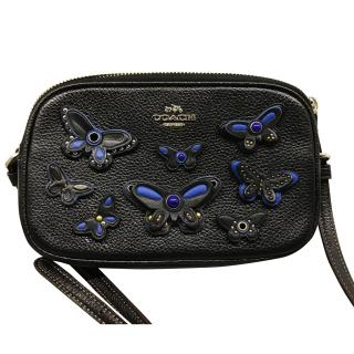 Coach black cross body bag with blue butterflies