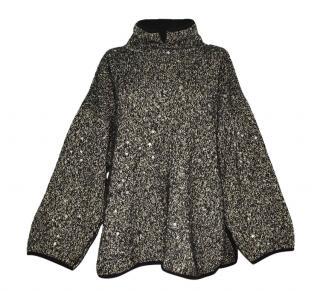 Marc Cain asymmetric  wool silk sequin poncho