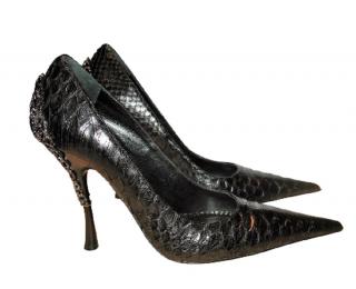 Gianmarco Lorenzi embellished black python pumps