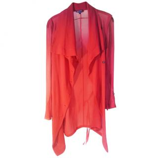 Ann Demeulemeester Red Silk Cardigan
