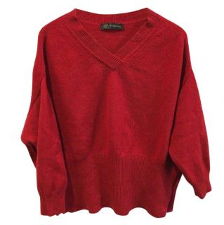 Versace Oversized Red Wool Cashmere Jumper