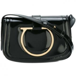 Ferragamo black patent Sabine bag