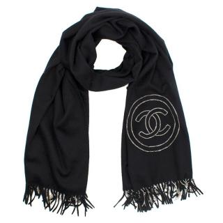 Chanel Black Thick Cashmere Chain Fringe and Embellished CC Wrap