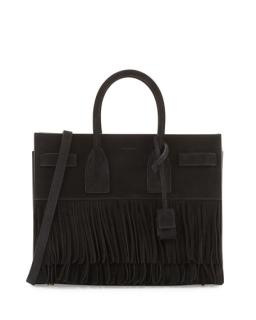 Saint Laurent Sac du Jour black suede fringe bag