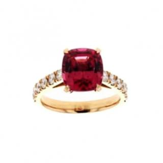 Catherine Best  3.62ct Cushion Cut Spinel 18ct Gold and diamond ring