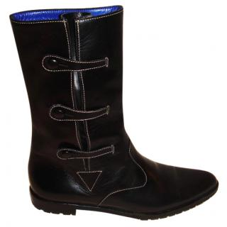 Manolo Blahnik flat black boots
