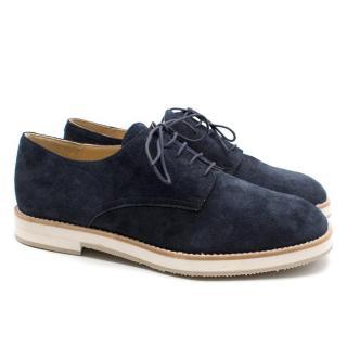T & F Slack Shoemakers London Handmade Navy Suede Derby Brogues