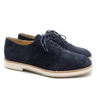T & F Slack Shoemakers London Handmade Navy Suede Derby Brogues