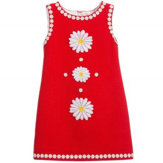 Dolce and Gabbana girl red Crepe Daisy Dress