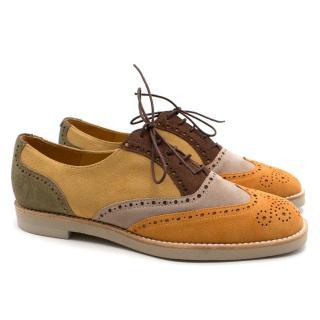 T & F Slack Shoemakers London Handmade Brown Patchwork Brogues