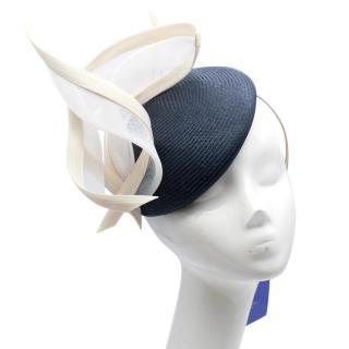 Philip Treacy Bespoke Navy and Cream Pillbox Headpiece