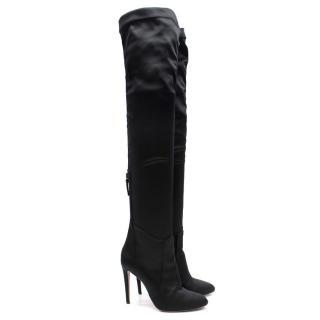 Aquazzura 'All I Need' Black Satin Long Heeled Thigh Boots Current