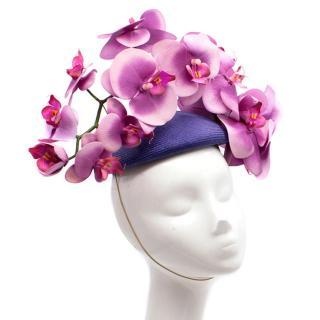 Philip Treacy London Bespoke Purple Orchid Pillbox Headpiece