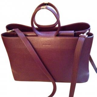 Jil Sander burgundy leather shoulder/tote bag