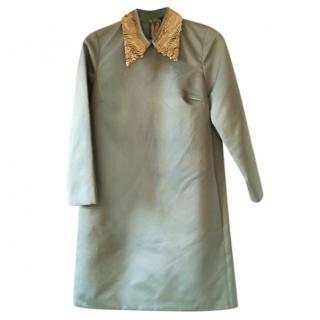No.21 mint green embellished collar cocktail dress