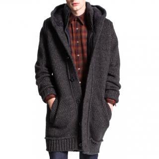 Hugo Boss Gray Wool Hooded Long Cardigan