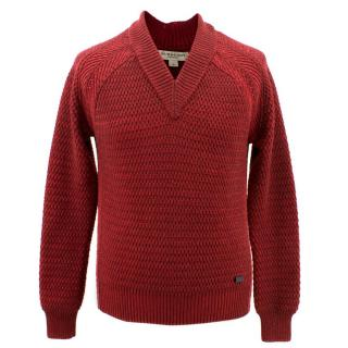 Burberry Red V- neck Ribbed Wool Jumper