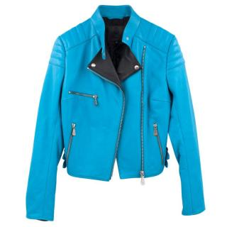 MCQ Alexander McQueen Blue Leather Jacket