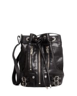 Saint Laurent Black Calfskin Zip Rider Bucket Bag