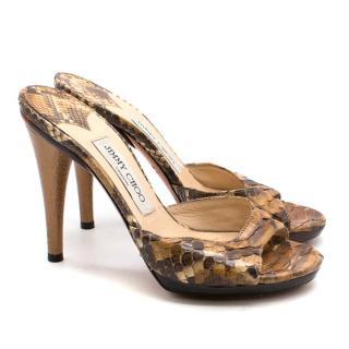 Jimmy Choo Python Peep Toe Sandals
