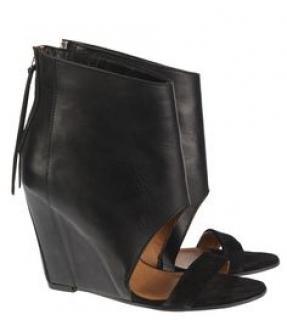 Iro black leather Manel open toe boots