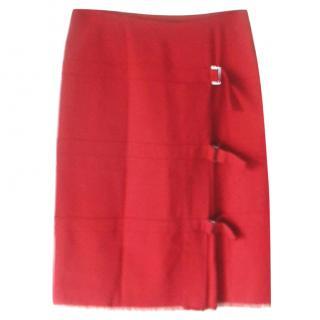 Plein Sud Cranberry Red Kilt Style Skirt