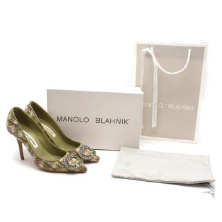 Manolo Blahnik Green Brocade Jewel Buckled Pumps