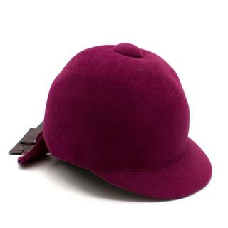 Ermanno Scervino Purple Rabbit Hair Equestrian Hat