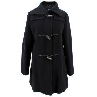 Burberry London Black Lightweight Herringbone Duffle Coat