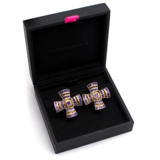 Theo Fennell 18K Gold Amethyst Byzantine Cross Earrings