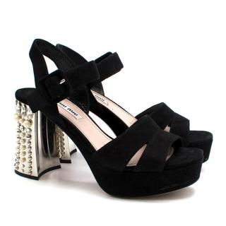Miu Miu Black Suede Crystal Embellished Sandals