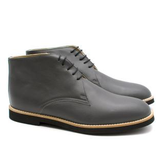 T & F Slack Shoemakers London Grey Handmade Ankle Desert Boots