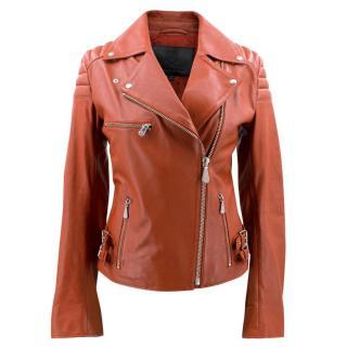 McQ Alexander McQueen Red Agnello biker jacket