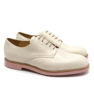 T & F Slack Shoemakers London Cream Derby  Brogues with Pink Sole