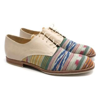 T & F Slack Shoemakers London Beige Multi- coloured Striped Brogues