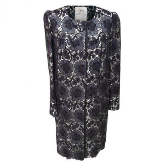 Milly Navy Lace Duster Coat